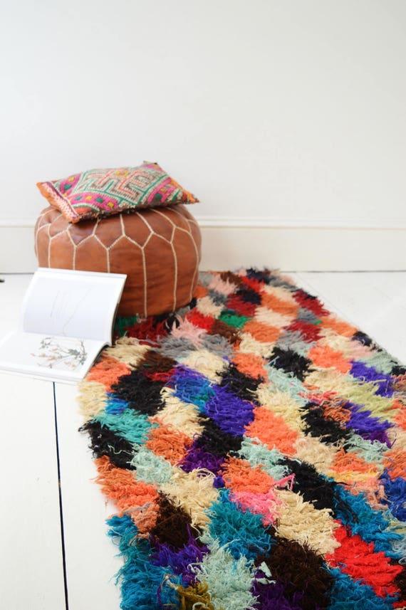 FREE SHIPPING>> Vintage Moroccan Boucherouite  Rug,  Beni Ouirain Rug,Moroccan Rug,Hand Woven Rug, Bohemian Rugs, Xmas Gifts, 35 x 98''