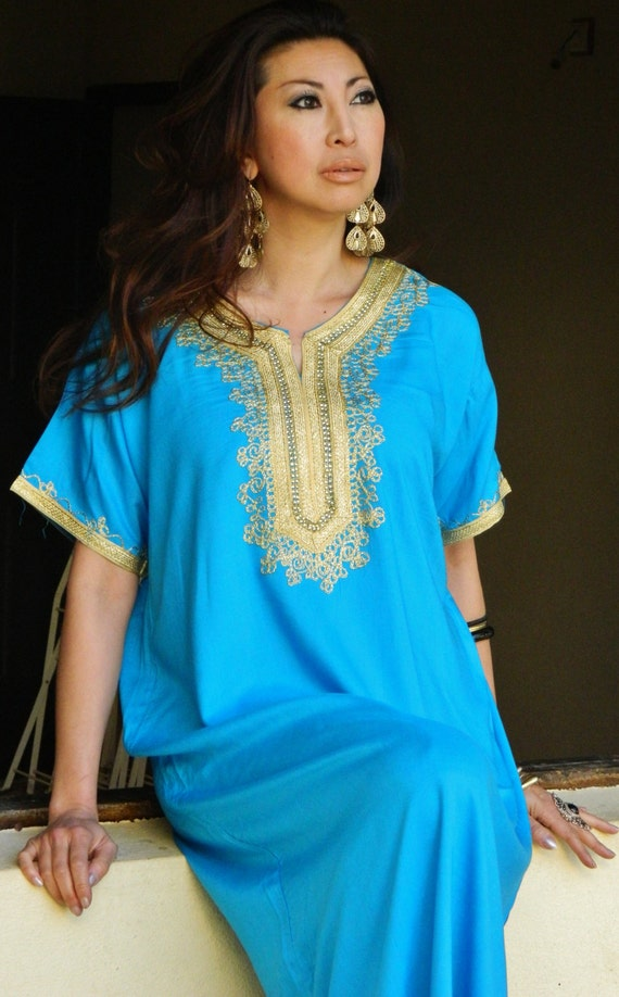 Turquoise Resort Caftan Kaftan Fez-  Eid, resortwear,loungewear, birthdays, honeymoon, maternity gift, beach cover up,beach kaftan,Easter