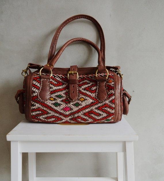 Trendy Winter Finds Moroccan Red Kilim Leather Satchel Cross Shoulder Straps Berber style-bag, tote, handbag, purse, gifts, Ramadan, Eid