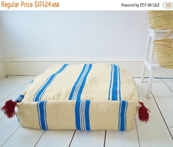 Autumn Pouf Sale 30% Off// White with Blue Kilim Moroccan Floor Cushion Pouf -home gifts, wedding gifts, anniversary, gifts, home decor