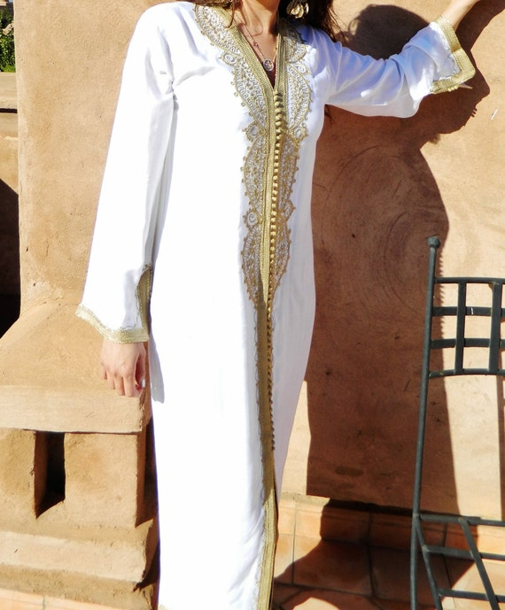 White with Gold Maternity Caftan - Lella- loungewear,resortwear,spa robe, great for Christmas, Birthdays or Maternity Gifts, Ramadan, Eid