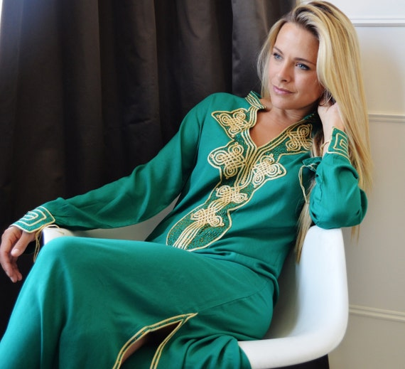Emerald Green  Moroccan Caftan Kaftan Aisha-christmas giftswear,resortwear,spa robe,  birthdays, Honeymoon or Maternity Gift,Autumn dress,