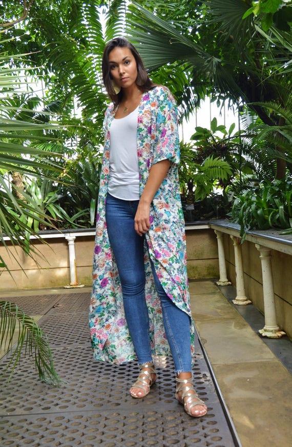 Floral Print Kimono, Jacket, long Jacket, Marrakech Kimono, Robe, Beach Kimono, Winter Jacket, Bohemian, Moroccan Jacket,Long Shirt
