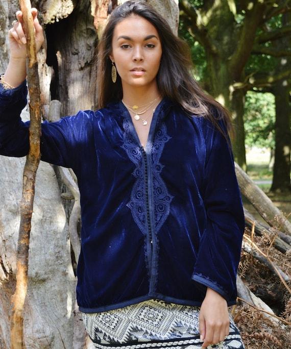 Christmas Gifts-New Winter Blue Velvet Luxury Coat Jacket with Embroidery-Ranae-boho wear, birthday gifts, winter jackets, Ramadan, Eid