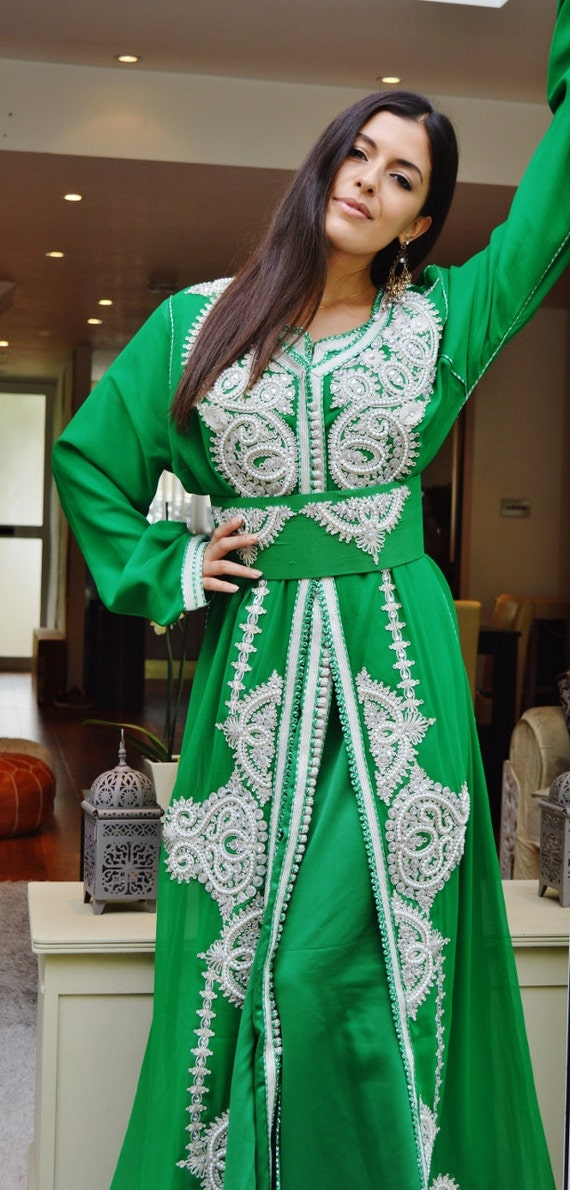 Winter Winter Moroccan Modern Emerald Green White Embroidery Caftan Kafan-Amelia-moroccan parties, weddings,abbayas, , , anniversary, dress,