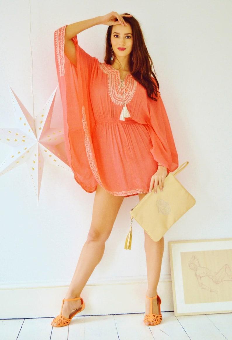 Summer Salmon Pink Embroidery beach weddingTunic Cover up-holiday wear Eid,, lounge beachwear shirt beach wedding maternity gifts