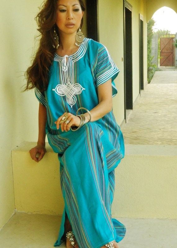 Caftan Kaftan Bedoin - Turquoise- Eid, Ramadanwear, as beachwear,beach cover ups, maternity wear, gifts,  beach weddings,