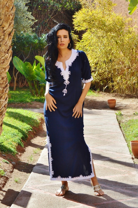 Blue Kaftan,Trendy Clothing Navy Blue  with White Khalida Moroccan Caftan Kaftan -maxi, resort, beach cover up, Birthdays,Maternity Gifts
