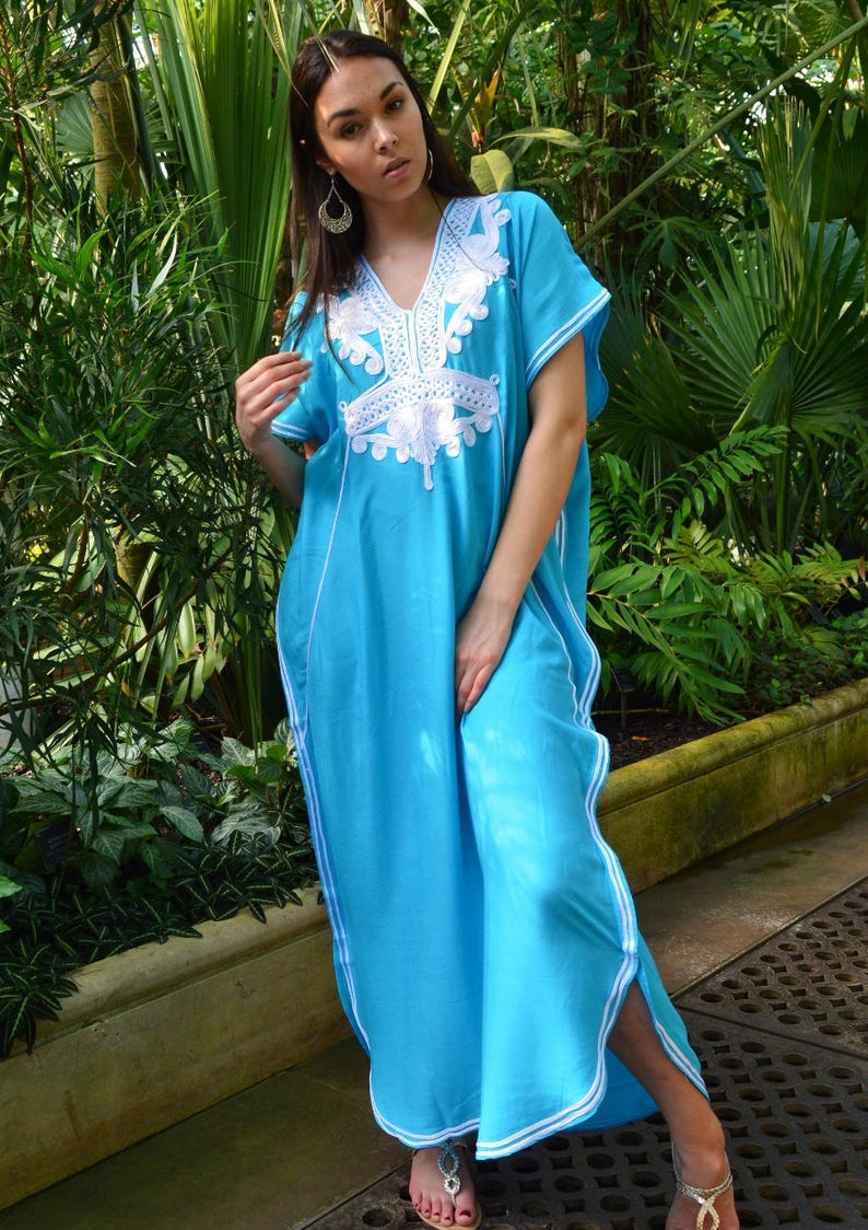6dfbcdd2d5 Summer Kaftan Sale//Turquoise Blue & White Marrakech Resort | Etsy