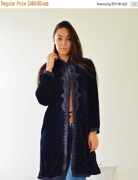 Kaftan Sale 20% Off/ Long Navy Blue Velvet Luxury Jacket with Embroidery-Nadia-boho wear, birthday gifts, bohemian jacket, velvet, mother's