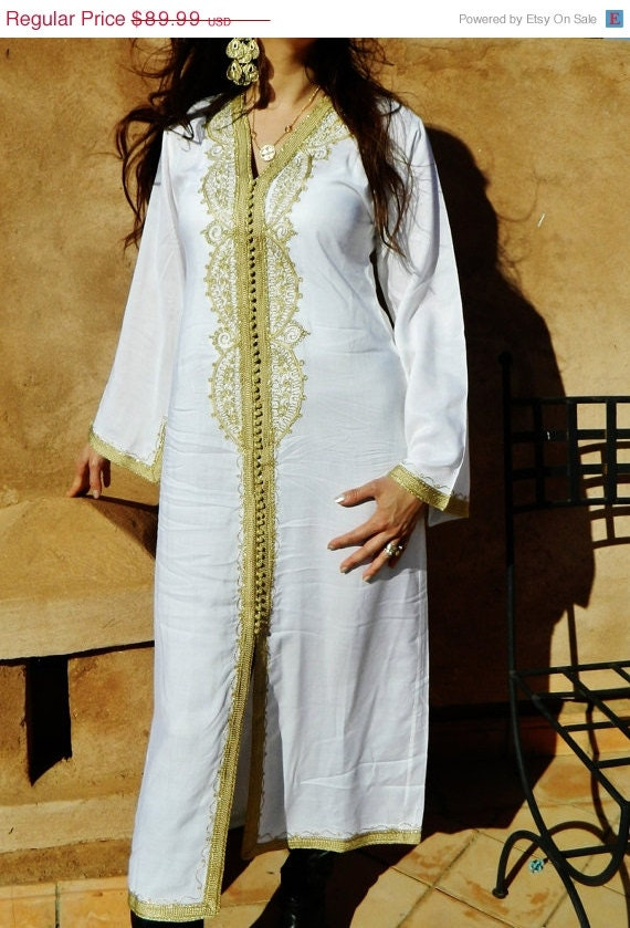 White with Gold Maternity Caftan - Lella- christmas giftswear,resortwear,spa robe,  Christmas, Birthdays or Maternity Gifts, Ramadan, Eid,