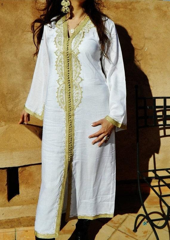 White with Gold Maternity Caftan - Lella-  giftswear,resortwear,spa robe,  Christmas, Birthdays or Maternity Gifts, Ramadan, Eid,,Ramadan