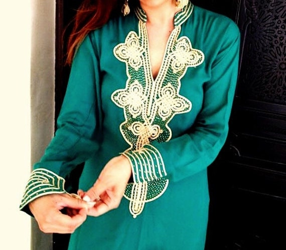 Christmas Gifts- Winter Trendy Clothing Emerald Green Caftan Kaftan - Aisha- bridesmaids gifts, beach weddings, honeymoon, resort