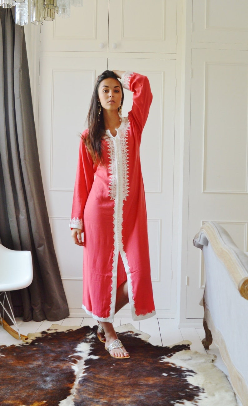 bb4087a5622 Spring Trendy Finds Clothing Salmon Pink Caftan Maxi Dress