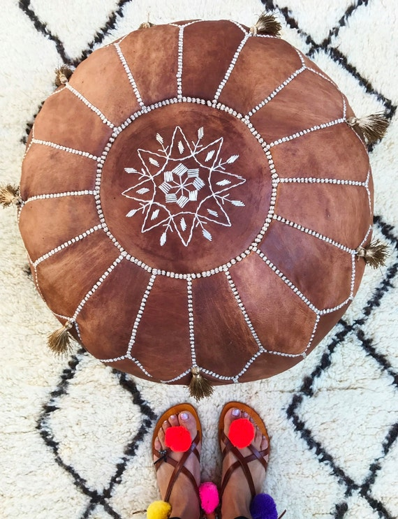 Best Spring 20% OFF Pouf Sale>Tan Brown Moroccan Leather Pouf Tassels & Pompoms>decor, wedding gift,foot stool, gift,Ramadan,Easter
