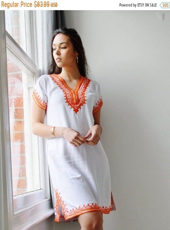 Kaftan Sale /  White with Orange Tunic Dress Summer Dress -Lena Style-spring dresses, women's dresses, bohemian, resortwear, ho,halloween