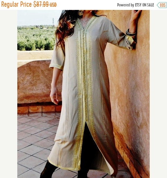 Kaftan Sale / Summer Kaftan Beige with Golden Embroidery Caftan- Naima-loungewear,resortwear,for Birthdays,Honeymoon, maternity gifts