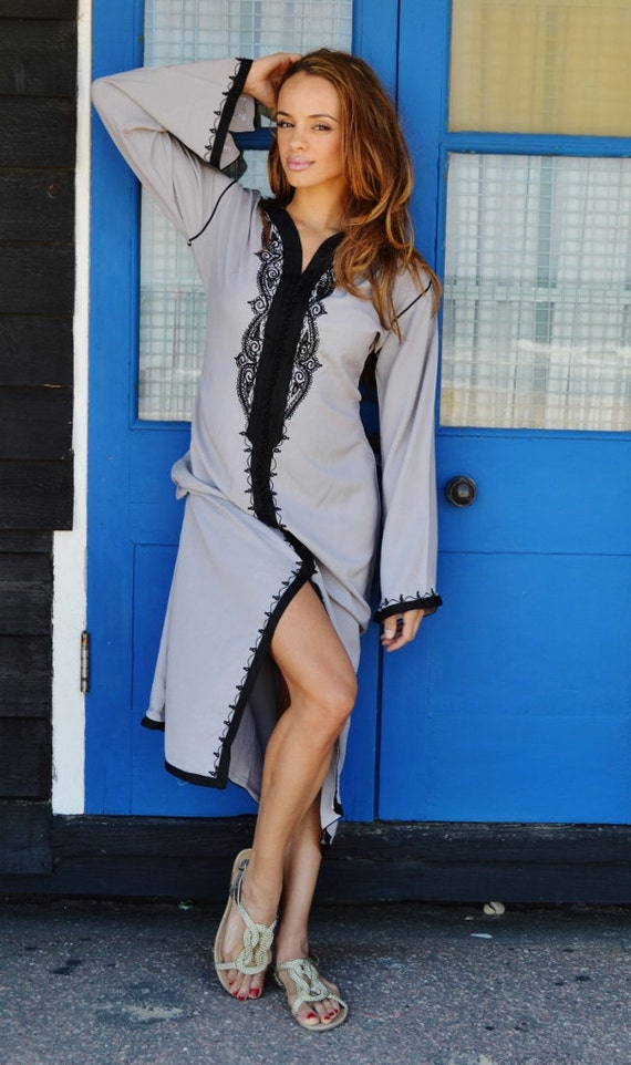 loungewear Trendy Gifts Dress Birthdays Clothing Black Caftan Maternity Lella as SPRING robe resortwear Maxi with Grey spa Kaftan vwqwCASx