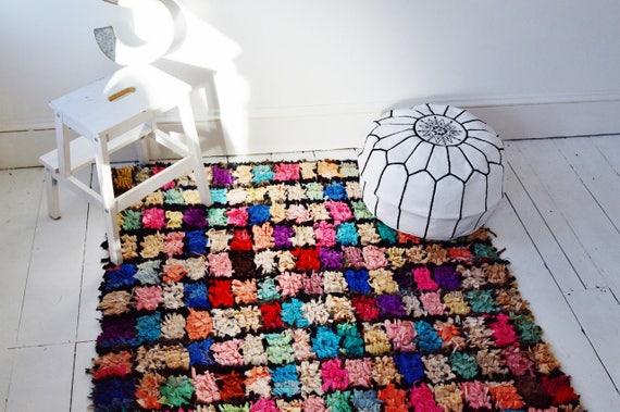 FREE SHIPPING>> Multicolour Vintage Moroccan Boucherouite  Rug,Beni Ouirain Rug,Moroccan Rug,Hand Woven Rug, Bohemian Rugs,52 x 80inches