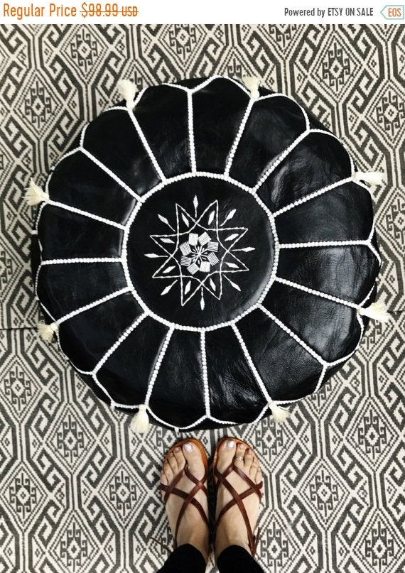Pouf Sale 30% Off// Black with White Stitching Moroccan Leather Pouf with Tassels & Pompoms >> for Home gifts, wedding gifts,birthday gift