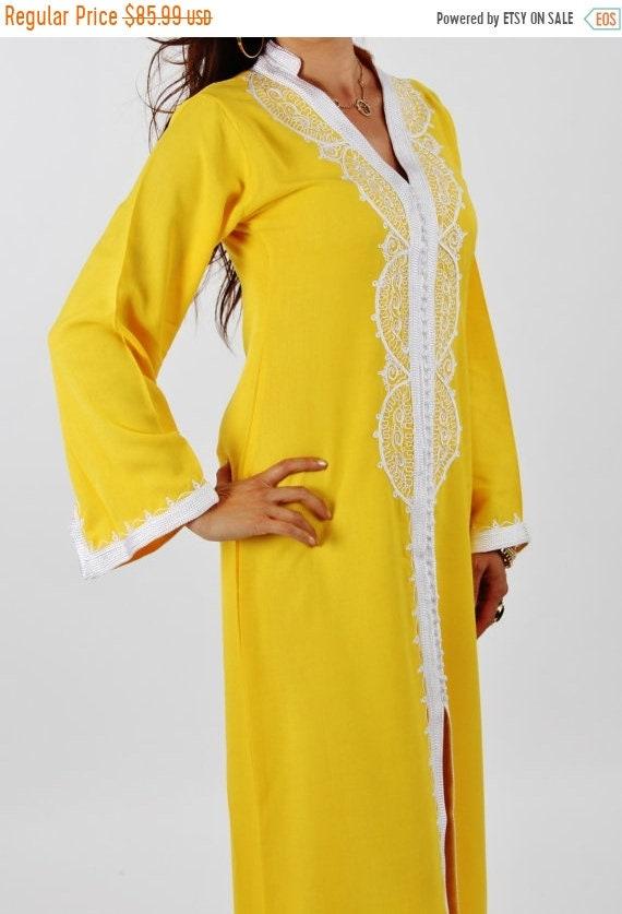 Kaftan Sale 20% Off/ Yellow Moroccan Maxi Dress Caftan -Luxury loungewear,resortwear,beach cover up, great for beach wear, Birthdays,Honeymo