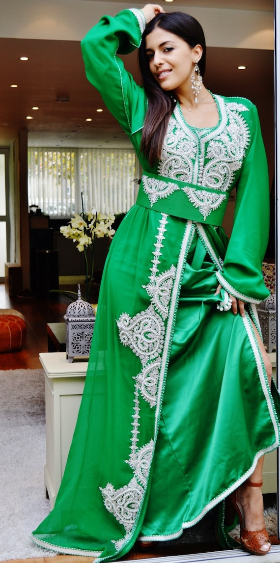 Summer Moroccan Green White Embroidery Caftan Kafan-Noura-moroccan parties, weddings,abbayas, , , anniversary gift,summer dress,beach kaftan