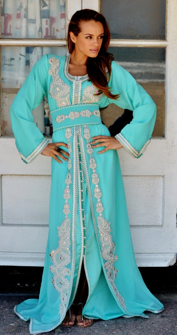Autumn Moroccan Modern Mint Green Embroidery Caftan Kafan-Kalia-moroccan parties, weddings,abbayas, , , Autumn dress,