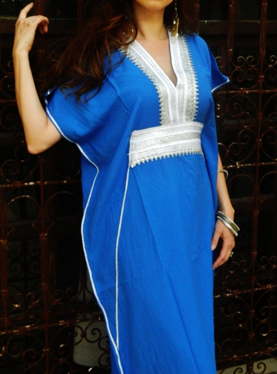 Bridesmaids Caftan Blue Marine-  brides gifts, bridesmaids gifts, beach weddings, honeymoon caftans, Ramadan, Eid,summer dress,beach kaftan