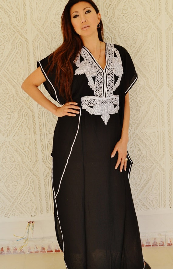 Black with white Marrakech Resort Caftan Kaftan - for beach cover ups, resortwear,loungewear, maxi dresses, birthdays, honeymoon, maternity