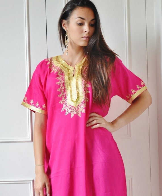 Fuschia Pink Resort Caftan Fez-Kaftan, Caftan, resortwear,beach coverup,loungewear, maxi dresses, birthdays, honeymoon, maternity gifts