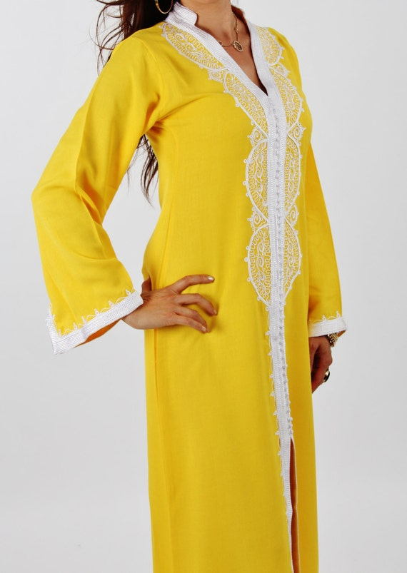 Yellow Moroccan Maxi Dress Caftan -Luxury loungewear,resortwear,beach cover up, great for beach wear, Birthdays,Honeymoon or Maternity Gifts
