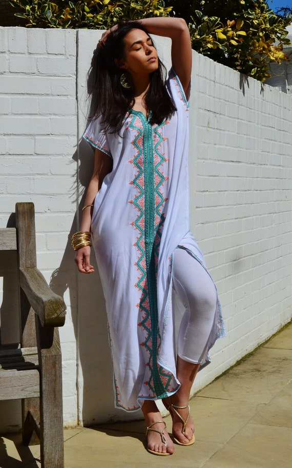 Autumn Trendy White Zahra Boho Caftan Kaftan -loungewear,resortwear,, great for Birthdays, Honeymoon, Wedding, Maternity gifts,halloween