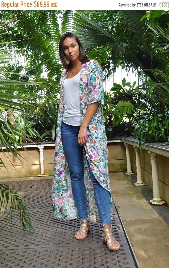 Kaftan Sale 20% Off/ Floral Print Kimono, Jacket, long Jacket, Marrakech Kimono, Robe, Beach Kimono, Winter Jacket, Bohemian, Moroccan Jacke