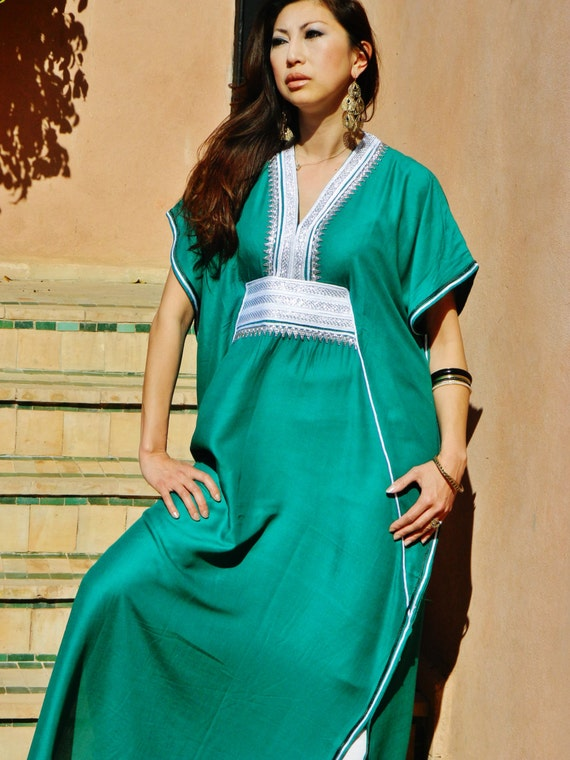 Emerald Green Marine Resort Caftan Kaftan - Mothers day, birthday gifts, resortwear,loungewear, birthdays, honeymoon, maternity gifts,Easter