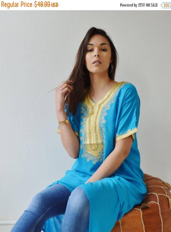 Spring Dress Turquoise Resort Caftan Kaftan- Spring dress, Resort Kaftan, beach coverup,loungewear, maxi dresses, birthdays, , Eid,halloween