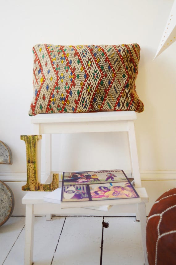 Vintage Moroccan Pattern Kilim Berber Carpet Cushions-lumbar, vintage cushions, christmas gifts, gifts, No.21, Ramadan, Eid