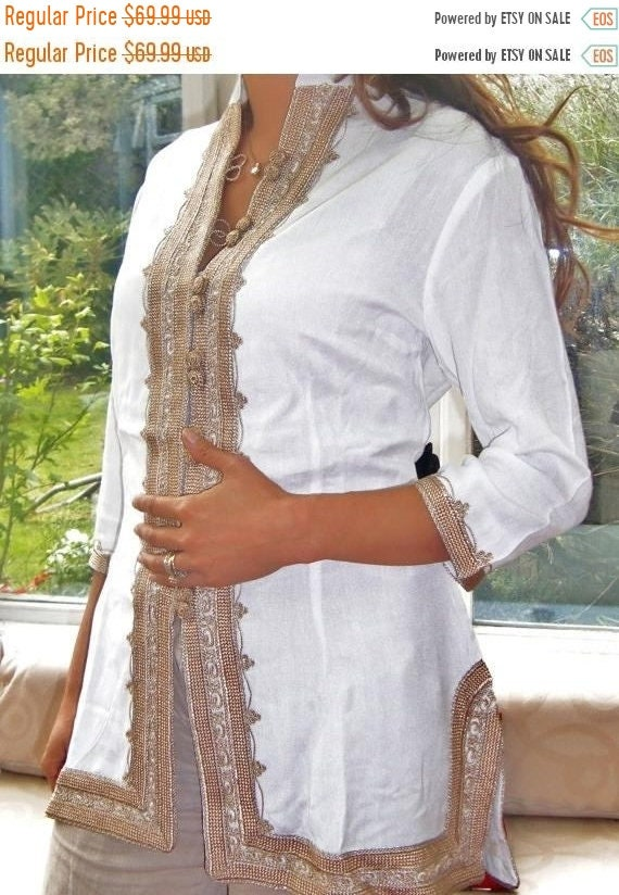 Kaftan Sale 20% Off/ Handmade White & Gold Moroccan Tunic