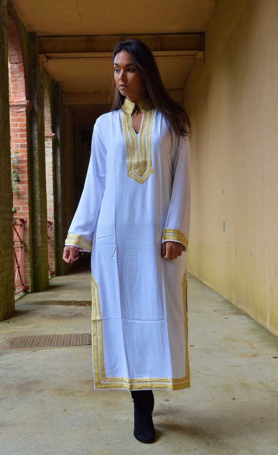 loungewear boho White Winter gifts Kaftan Moroccan Style Caftan Mariam beachwear up wedding as honeymoon as cover birthday beach gifts E0rq0wUc