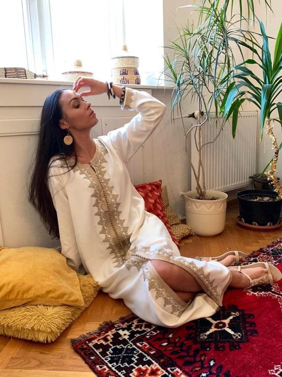 Autumn Kaftan Trendy Finds Clothing White &Beige kaftan Maxi Dress- Karima-loungewear,  Eid, Maternity Gifts, kaftan, dress, beach kaftan
