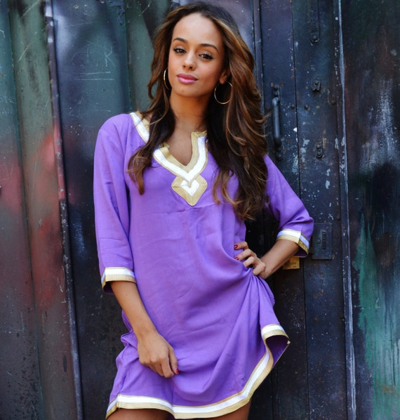 Autumn Boho Lilac Purple Resort Tunic Dress-great for resort wear, loungewear, tunic shirt, birthdaygifts, gifts for her, , Eid,halloween
