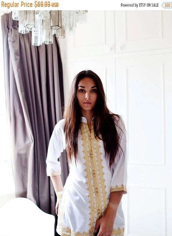 Kaftan Sale 20% Off/ Spring Boho| Handmade White & Gold Moroccan Tunic-perfect for birthday gifts, beach, resort wear, honeymoon gifts, bohe