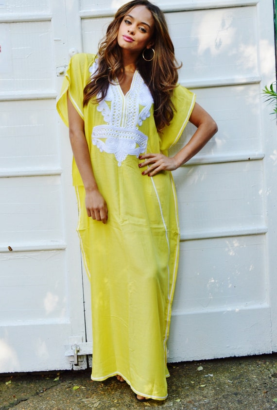 Summer Trendy Yellow White Marrakech Caftan Kaftan -beach cover ups, resortwear,loungewear, maxi dresses, s, , maternity,summer dress,