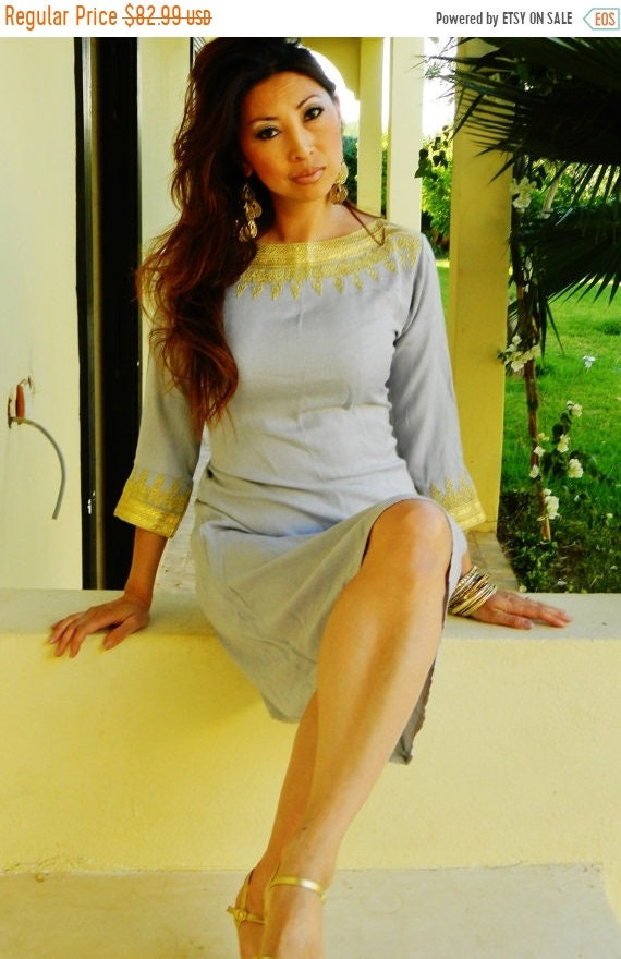 Kaftan Sale 20% Off/ Light Grey Resort Tunic Dress Summer Dress -Reina Style-perfect for birthday gifts, dresses, maternity