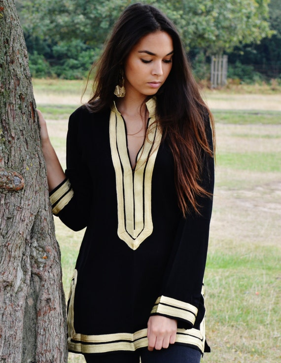 Trendy Black Tunic with Golden Embroidery Mariam- perfect  resort wear, boho wear, as birthday gifts, black boho tunic,Autumn dress,