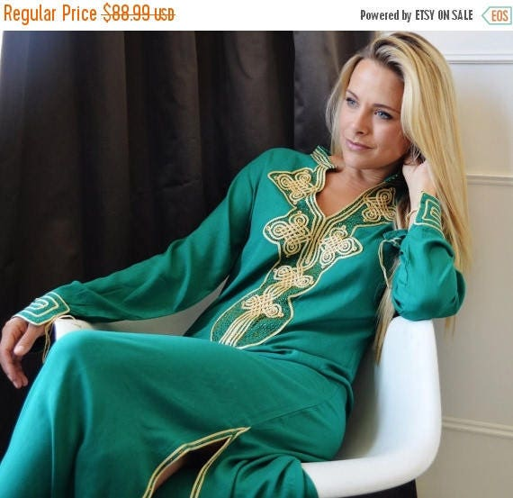 Autumn Autumn Dress Emerald Green Moroccan Caftan Kaftan Aisha-christmas giftswear,resortwear, Maternity dress, Autumn dress,Autumn dress,
