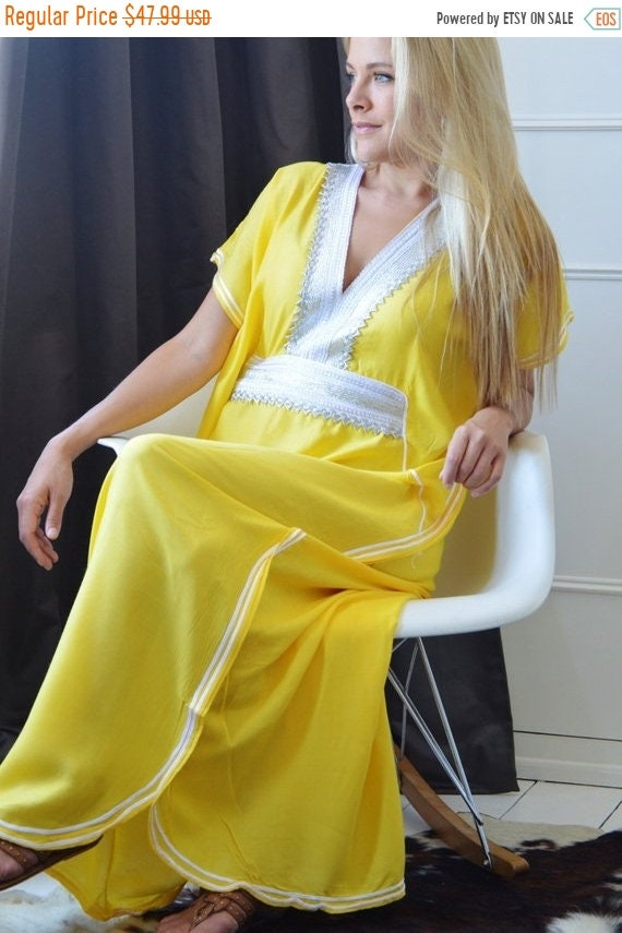 Kaftan Sale / Yellow Caftan Kaftan Resortwear -Luxury loungewear, resortwear,, great for beach cover up, honeymoon, Birthdays,halloween