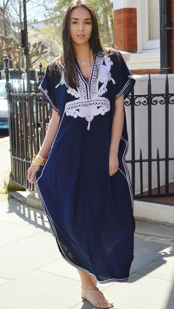 Kaftan, Caftan, Navy Blue & Silver, Marrakech Kaftan -beach kaftan,resortwear,loungewear, honeymoon, maternity kaftan, wedding kaftan, dress
