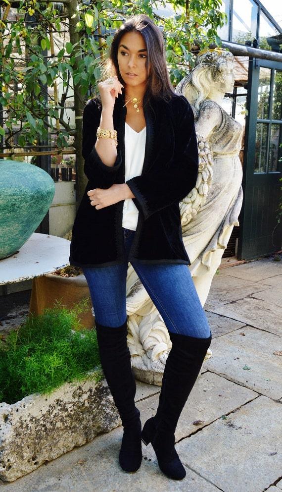 Christmas Winter TREND | Black Velvet Luxury Jacket with Black Embroidery-Nadia-boho wear, birthday gifts, Ramadan, Eid