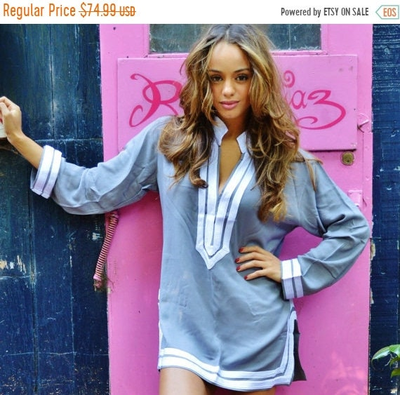 Kaftan Sale 20% Off/ Mariam Style Grey Tunic White Embroidery-perfect for Eid gifts, birthday gifts, honeymoon, resortwear, winter dresses,
