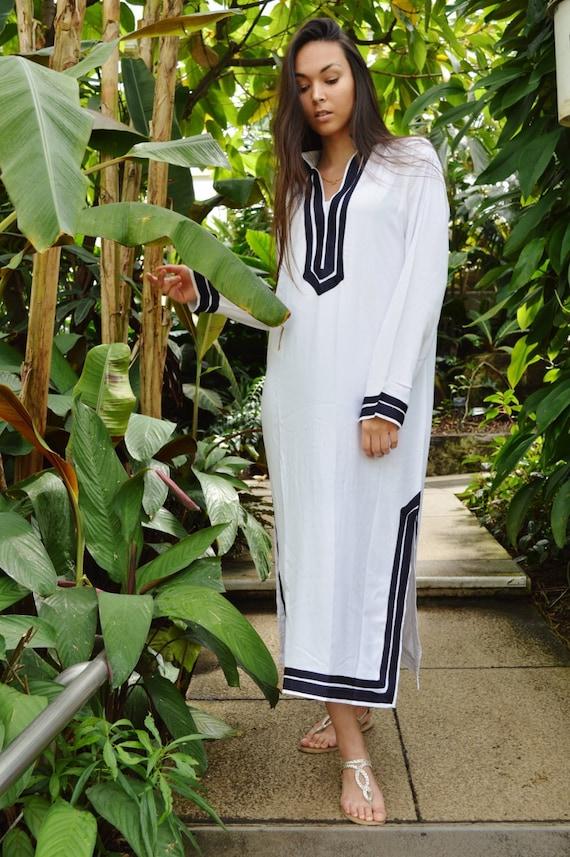 526325f22a White Navy Blue Kaftan Mariam Style Caftan Kaftan loungewear,resortwear,  beach kaftan, moroccan